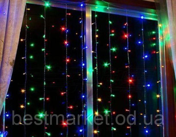 Новогодняя Светодиодная Гирлянда Штора 160 LED Лампочек 4 х 0,7 м Разноцветная