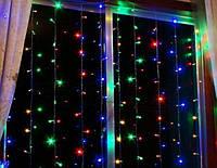 Новогодняя Светодиодная Гирлянда Штора 160 LED Лампочек 4 х 0,7 м Разноцветная, фото 1