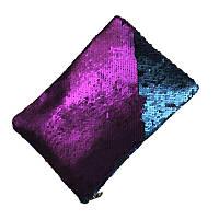 Клатч c пайетками фиолетово-синий (матовый)