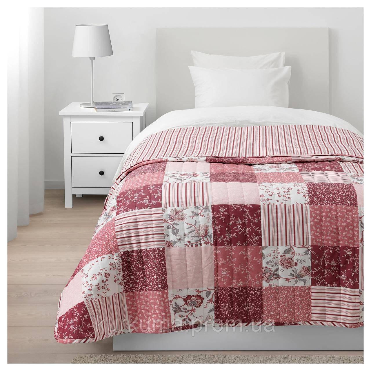 IKEA VARRUTA Покрывало, белый, розовый  (403.819.22)