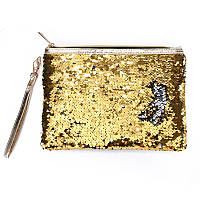 Косметичка-клатч меняющая цвет золото-серебро