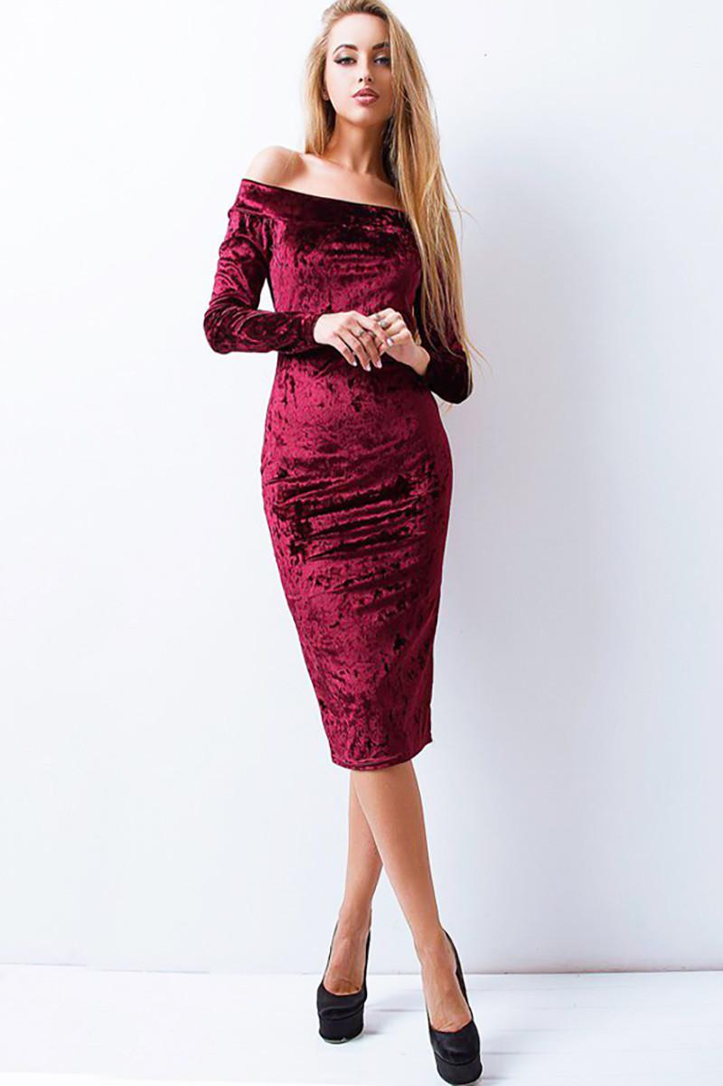 Велюрову сукню Ларнака бордовий