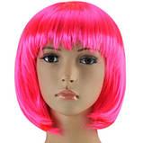 Парик каре ярко-розовый 35 см., фото 3
