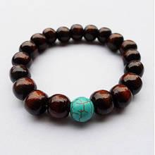 Деревянный браслет с бирюзой