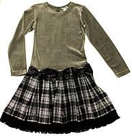 Платье для девочки-подростка Emily Серое Велюровое