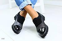 Стильные Женские туфли на шнурках из натуральной кожи и замши