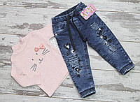 Детские утепленные стрейчевые  джинсы  на махре для девочки  Турция
