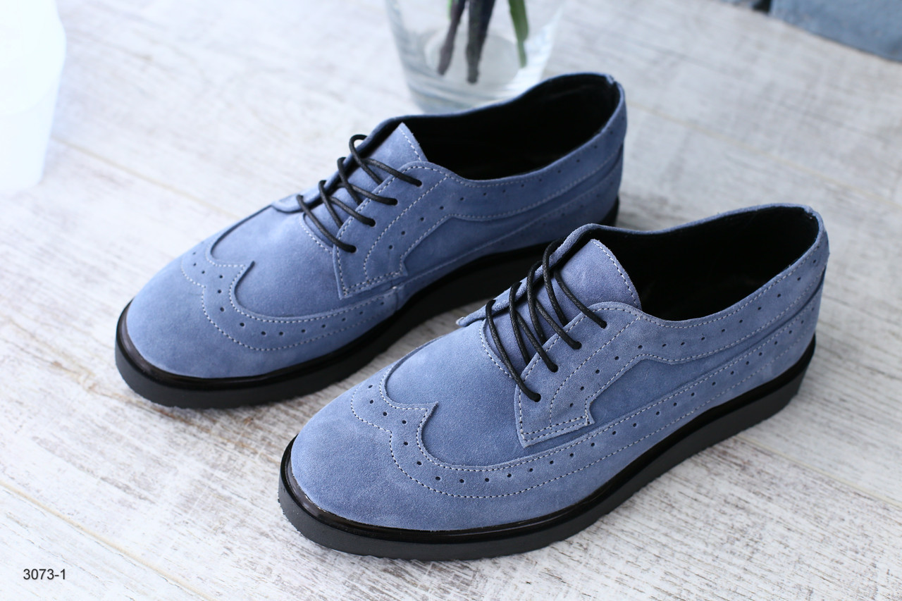 7e854906e ... Женские синие туфли Оксфорды Броги из натуральной замши на шнурках 41р,  ...