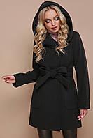 Укороченное приталенное зимнее женское пальто с капюшоном и поясом черное, фото 1