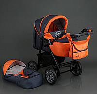 Коляска трансформер детская всесезонная утепленная Viki, зима-лето, цвет темно-серый с оранжевым, 86- C 16