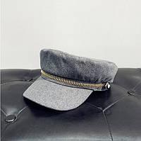 Женский картуз, кепи, фуражка с золотистой молнией серый, фото 1
