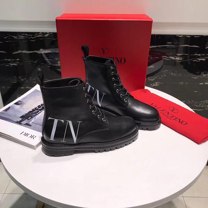 Черные кожаные ботинки Valentino на шнуровке с логотипом VLTN ... 6aed4170a31