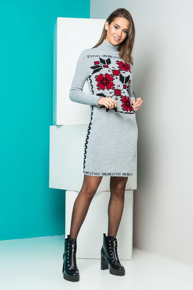 Теплое вязаное платье-вышиванка - Оптово - розничный магазин одежды