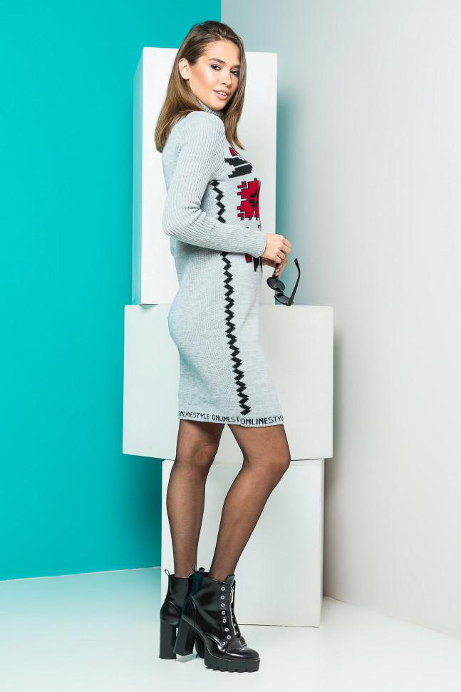 Теплое вязаное платье-вышиванка 2aa38270ea986