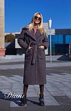 Пальто жіноче букле довге із кишенями на поясі утеплювач силікон 150 Estilo Diani розмір:42-44,46-48