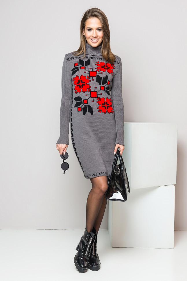 Графитовое вязаное платье-вышиванка приталенное - Оптово - розничный  магазин одежды