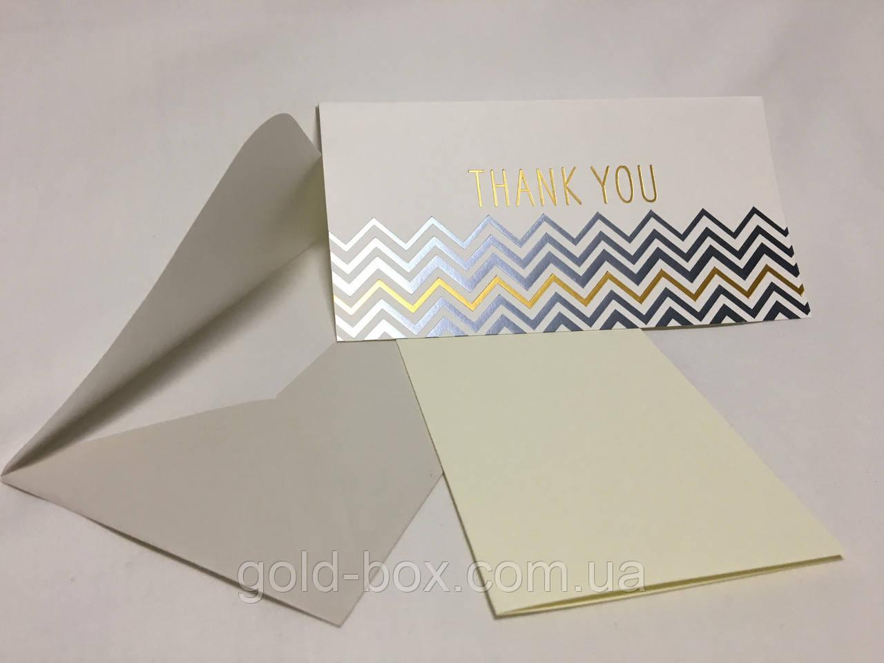 Поздравительная открытка , блестящая «Thank you»