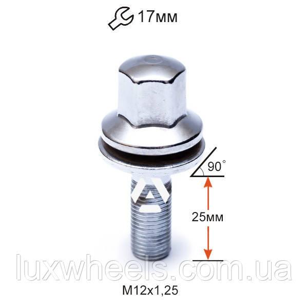 Болт колесный AP72156 Cr для Peugeot, Citroen M12х1,25х25мм Прессшайба Хром Ключ 17
