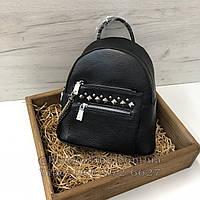 Рюкзак с заклепками и цепочкой / натуральная кожа кт-2818 Черный