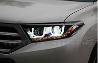 Передние фары Led тюнинг оптика Toyota Highlander XU40 ксенон