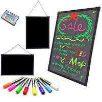 Рекламная светящаяся доска Fluorescent Board  30x40 c фломастером и салфеткой Черный