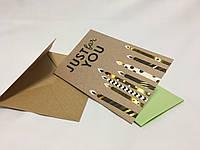 Крафтовая открытка для поздравления с глитером