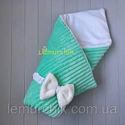 Конверт-одеяло минки на махре, мятный