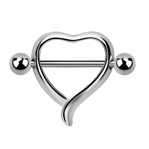 Серьга в сосок с сердцем 123302