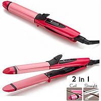 Плойка выпрямитель для волос, утюжек 2в1 NOVA NHC-2009 Розовый