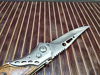 Туристичний складаний ніж, оригінальний сувенір, подарунок, матеріал метал/дерево, колір хром