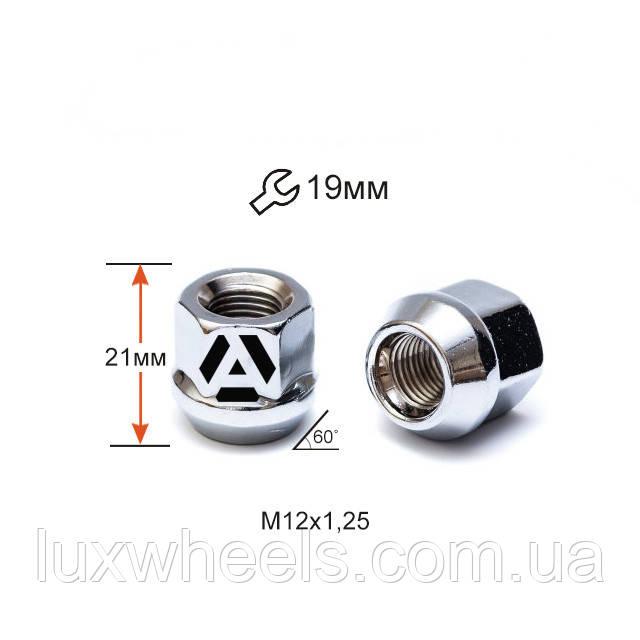 Гайка колесная A400144 M12х1,25х21мм Конус (Matiz, Nissan, Niva, Subaru, Suzuki) Открытая Хром Ключ 19