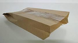 Пакет бумажный с ПП окном  12/15*31 коричневый (1000 шт)