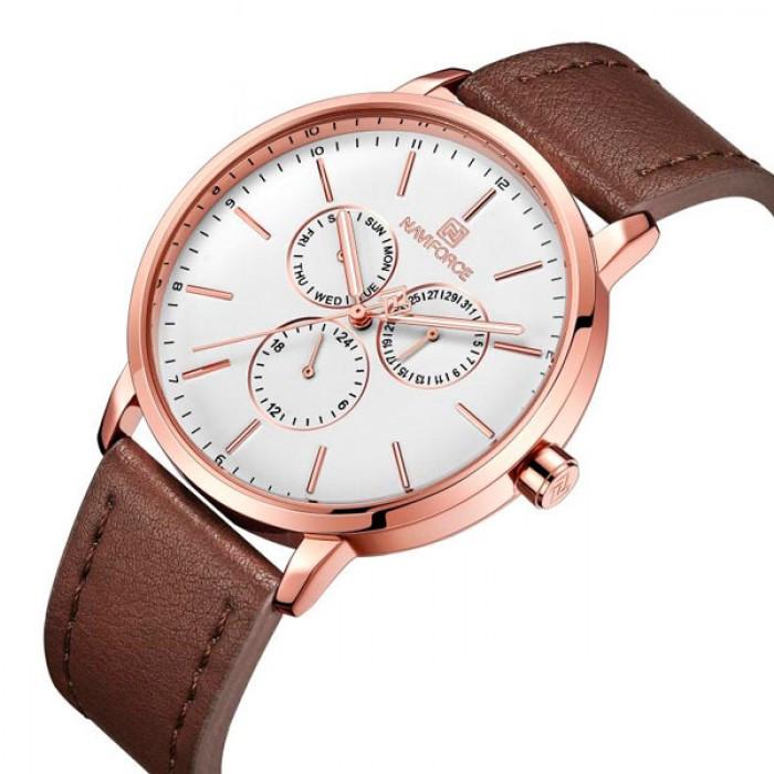 Мужские часы Naviforce Business Leather Gold NF3001