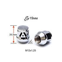 Гайка колесная A801144 M12х1,25х26,5мм Конус (Matiz, Nissan, Niva, Subaru, Suzuki) Закрытая Хром Ключ 19