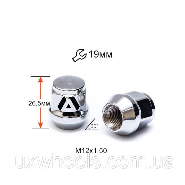 Гайка колесная A801145 M12х1,5х26,5мм Конус (Mazda, Kia, Hyundai, Daihatsu) Закрытая Хром Ключ 19