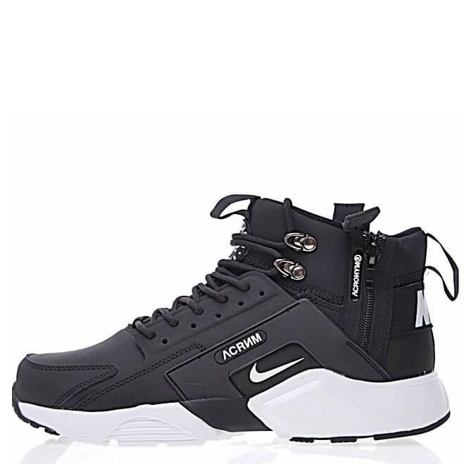 cheap for discount fb85f 46c4b Зимние кроссовки Найк Nike Huarache Acronym City MID Leather Black-White  (Арт.2006)