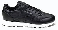"Кроссовки Reebok Classic Leather *Pearlized* (Black / White) - ""Черные Белые""  (Копия ААА+)"
