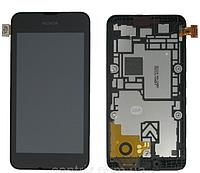 Дисплей (экран) для Nokia 530 Lumia + тачскрин, черный, с передней панелью, оригинал