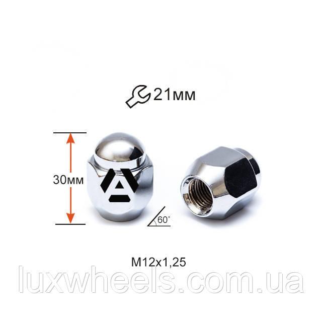 Гайка колесная A701144 M12х1,25х30мм Конус (Matiz, Nissan, Niva, Subaru, Suzuki) Закрытая Хром Ключ 21