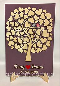 Панно Свадебное дерево пожеланий с сердечками с подставкой 44х30 см
