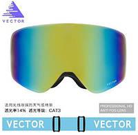 Горнолыжные / сноубордические очки (маска) VECTOR UV400 (Sky Blue) + жесткий чехол-кейс, фото 1