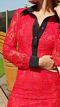 """Облегающее гипюровое мини-платье """"Динара"""" с длинным рукавом, фото 2"""