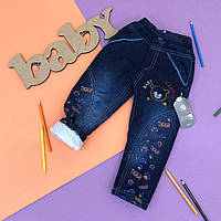 Утепленные джинсы на резинке на мальчика.1,2,3,4 года