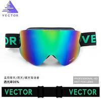 Горнолыжные / сноубордические очки (маска) VECTOR UV400 (Green-Blue) + жесткий чехол-кейс, фото 1