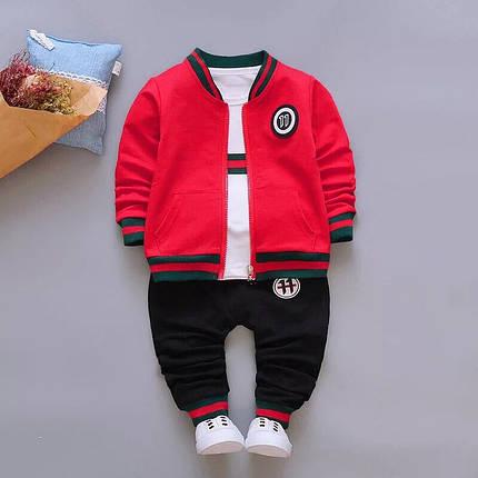 Стильный костюм тройка на мальчика весна-осень Gucci красный 1,4 года, фото 2