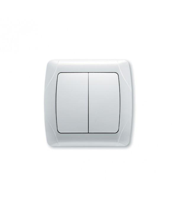 Выключатель 2-клавишный 10А белый Стандарт встроенный