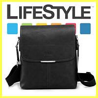 Стильная кожаная мужская сумка Polo + Подарок! Черный