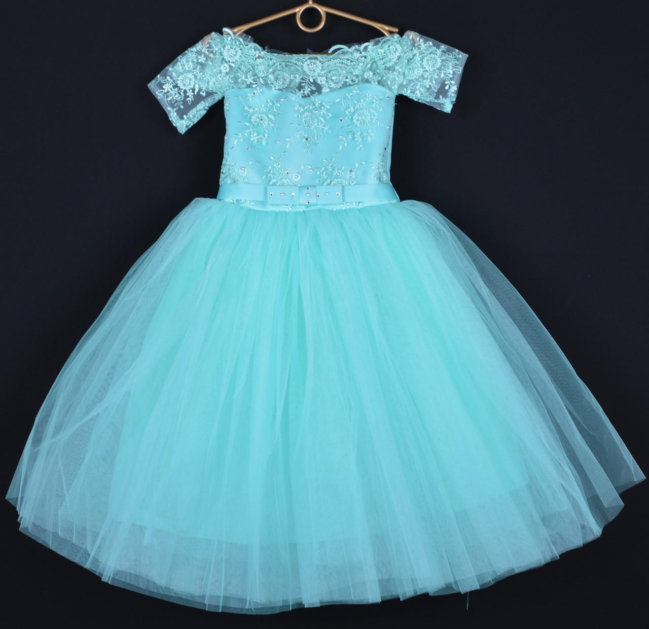 """Платье нарядное детское """"Марианна"""" с рукавчиком 5 лет. Мятное. Купить оптом и в розницу"""