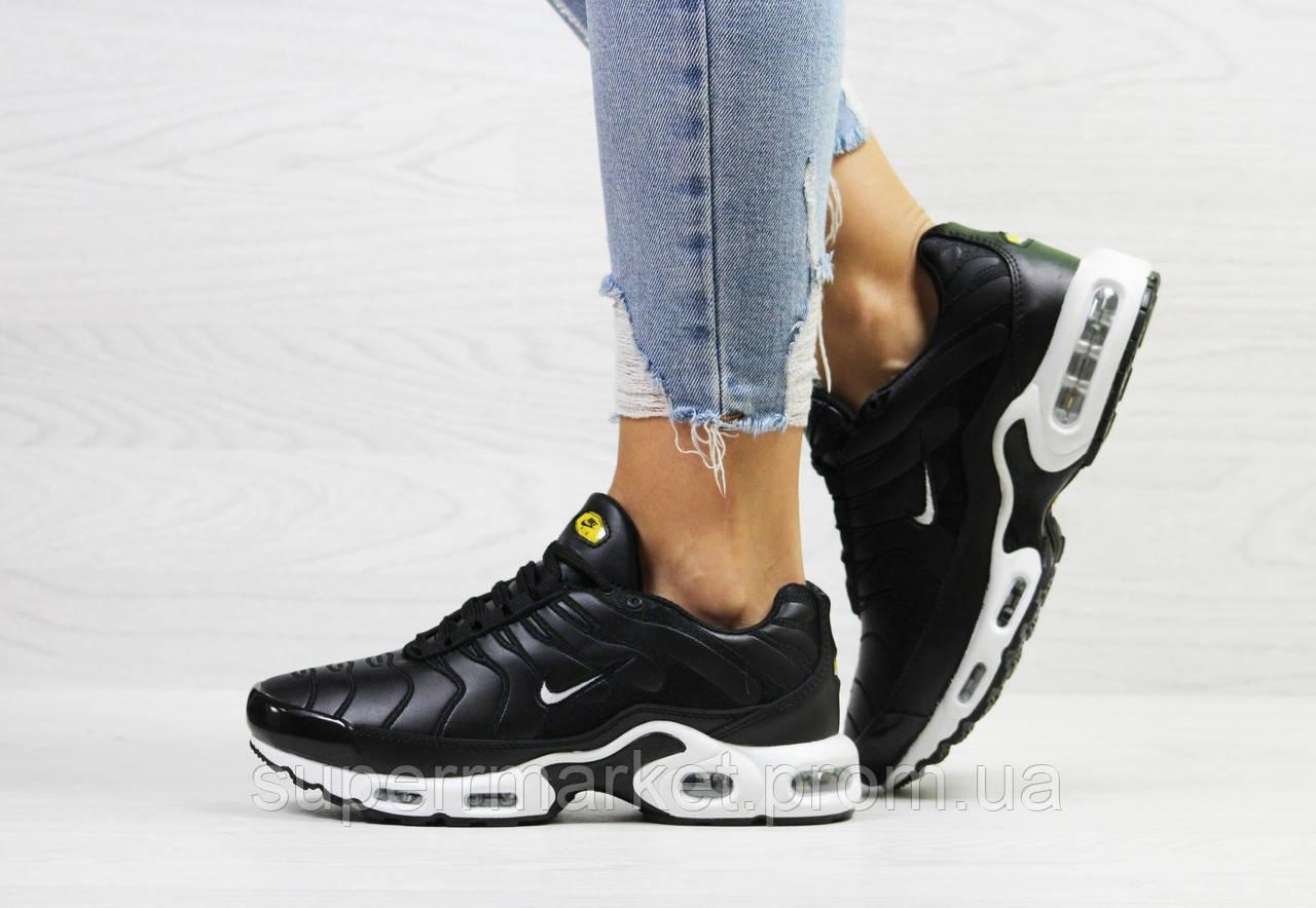 Кроссовки Nike Air Max Tn черные с белым (зима). Код 6612