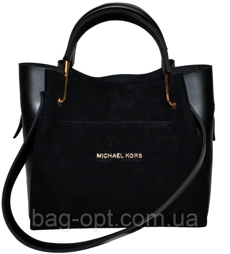 Женская черная сумка с клачем из натуральной замши Michael Kors (24*28*14)